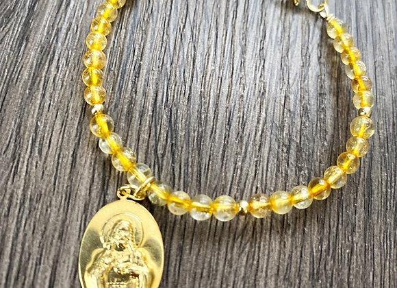 Pulsera Enchape Oro 18k en Piedras Citrino con medalla Sagrado Corazon de Jesús