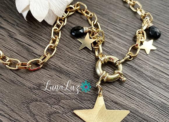 Cadena gruesa Estrellas y piedras protectoras Espinel . Enchape de Oro 18k