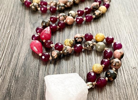 Collar AMOR INFINITO mix piedras naturales y colgante maestro Cuarzo Rosa