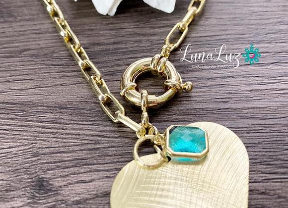 Collar corto (44 cms) broche timón y corazón XL cristal. Enchapado en Oro 18k