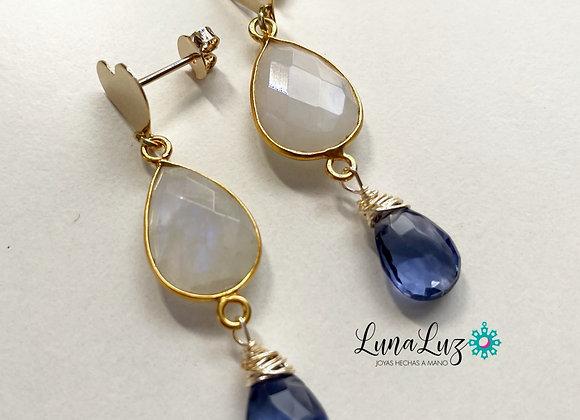 Aros Corazón Enchapados en Oro 18k con Piedra Luna y Cristal azulado