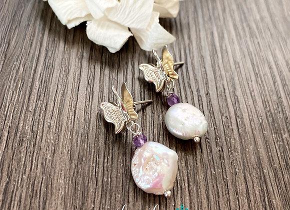 Aros de Plata 925 con perlas naturales y amatistas