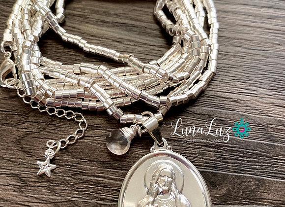 Mostacilla Enchape Plata 950 Sagrado Corazón de Jesús y Cuarzo Rosa