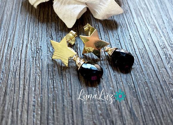 Aros Enchape de Oro 18k en piedras Espinel negro