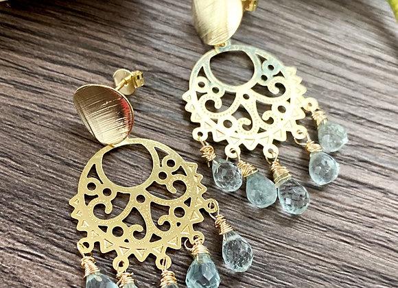 Aros Enchape de Oro 10k y gotas de piedras Aguamarina