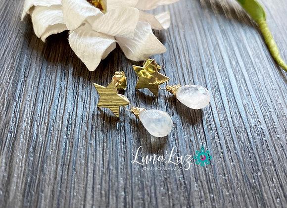 Aros Enchape de Oro 18k en Piedra Luna