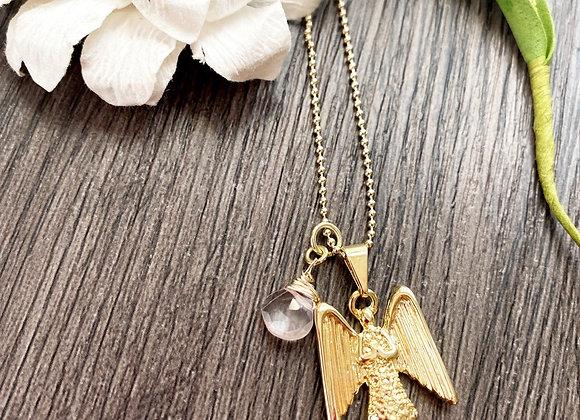 Cadena 45 cms angel Enchape de Oro 18k y Cuarzo Rosa