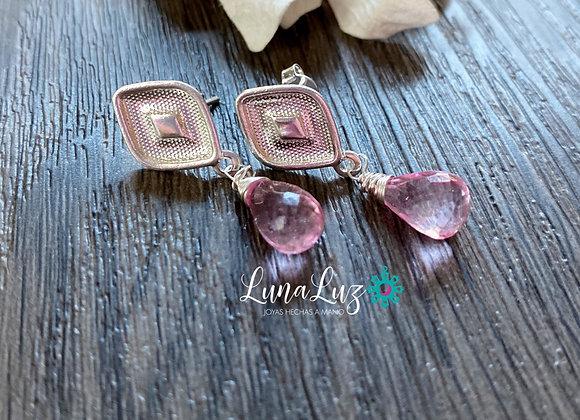 Aros Enchape de Plata 950 en piedras Topacio Rosa