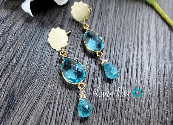 Aros Enchape de Oro 18k, cristales y bellas gotas de Apatita