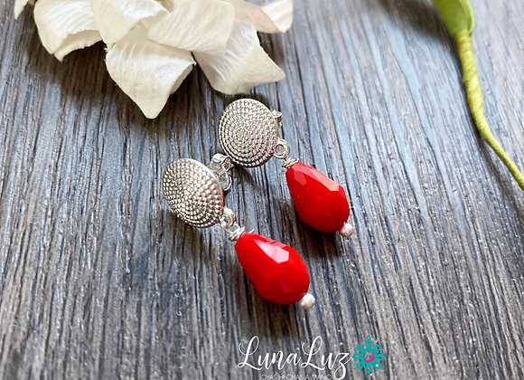Aros Enchape de Plata 950 en Cristales Rojos