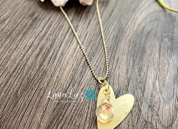 Cadena Corazón 45 cms Enchape de Oro 18k y gota de Cuarzo Rosa