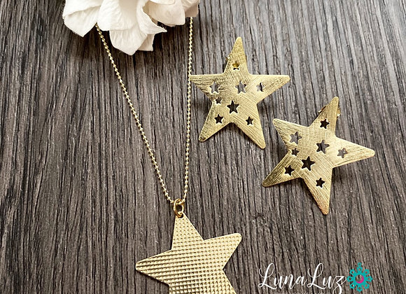 Conjunto Aros y Collar Estrellas Enchape de Oro 18k Cadena 45 cms