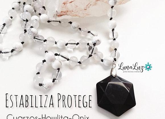 Collar ESTALIBILIDAD Y PROTECCIÓN en piedras naturales y colgante maestro Onix