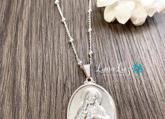 Cadena medalla Sagrado Corazon de Jesus enchapada en Plata