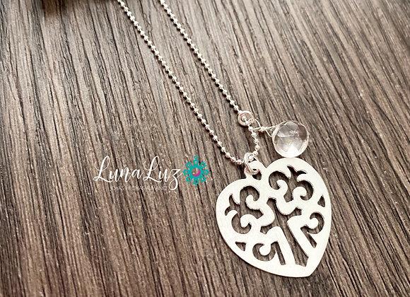 Cadena 45cms Corazón calado cruz y gota deCuarzo. Enchape de Plata 950