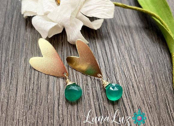 Aros Corazón Enchape de Oro 18k en gotas de Onix verde