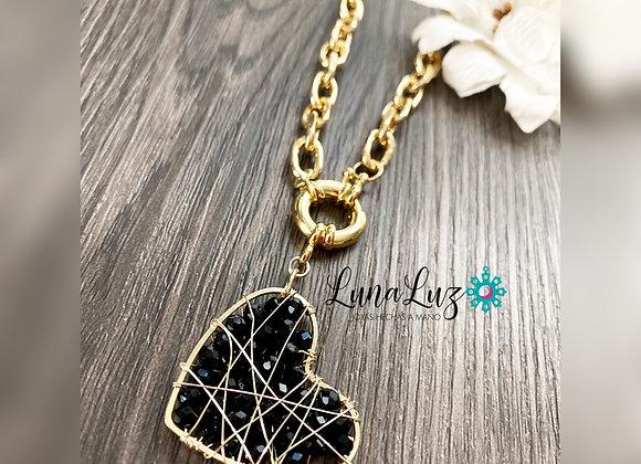 Cadena gruesa 45cms y Corazón tejido en cristales