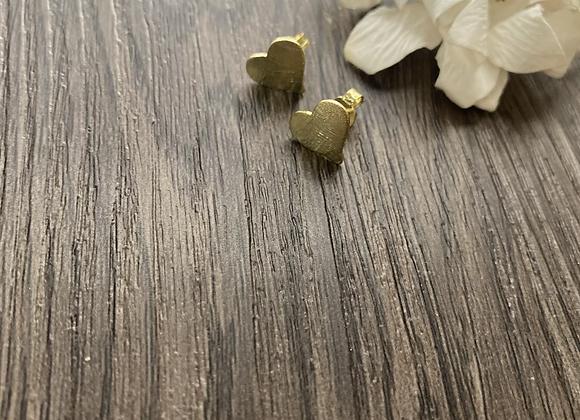 Aros Corazón pequeño 1 cms Enchape de Oro 18k.Miden 1 cm