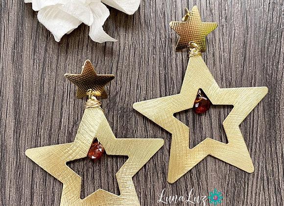 Aros Maxi-estrellas en gotas de piedra coralina