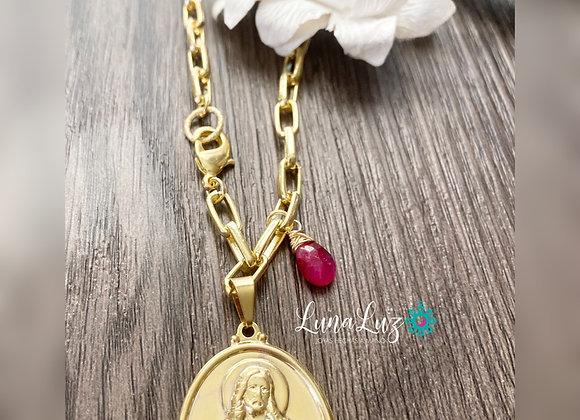 Cadena Gruesa Enchape Oro18k Chapa Sagrado Corazón. Piedra Raiz de Rubi