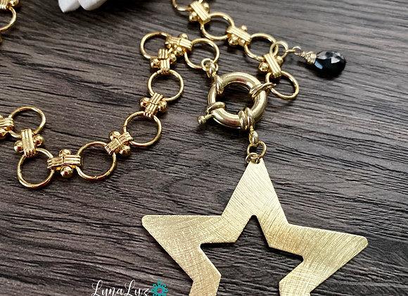Cadena gruesa Maxi Estrella con piedra protectora (Espinel negro).