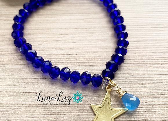 Pulsera Cristales Azulinos Enchapada en Oro 18k y gota de piedra calcedonia