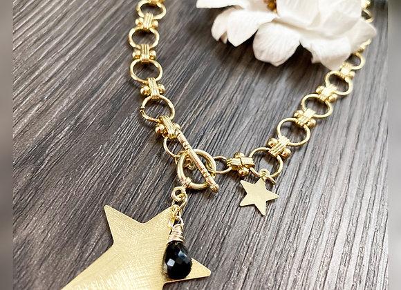 Cadena Maxi-Estrella 45cms y gota de piedra Espinel Negro