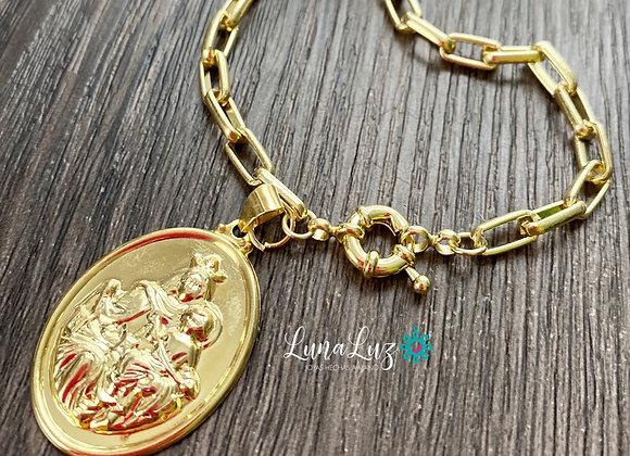 Pulsera cadena gruesa Virgen del Carmen Enchape de Oro 18k