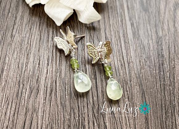 Aros mariposas de Plata 925 en piedra Prehnita