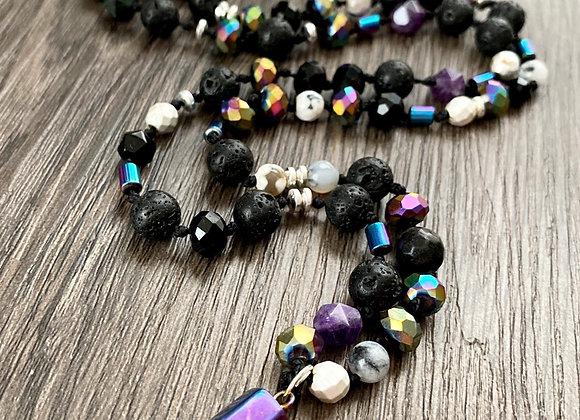 Collar *SANACION DEL AURA* trabajado en piedras naturales y cristales