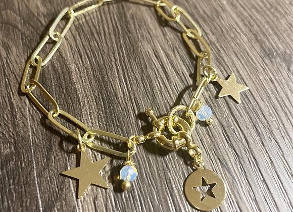 Pulsera Carena gruesa Estrellas y cristales Enchape de 18k
