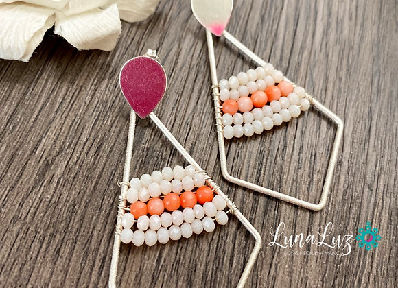 Maxi Aros Tejidos Enchape de Plata 950 y pequeñas piedras de Coral y cristales