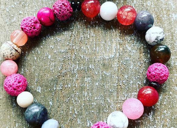 Brazalete elasticado de piedras naturales 8mm con centro de gota Cuarzo Rosa