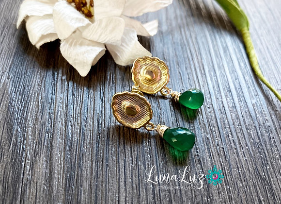 Aros Enchape de Oro 18k en piedras Onix verde