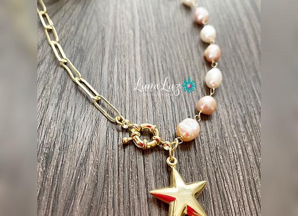 Collar Corto 45cms Perlas Naturales Enchapado en Oro 18k