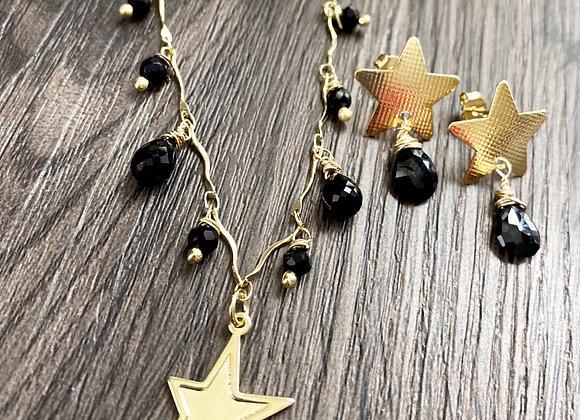 Conjunto Collar + Aros Enchape de Oro 18k en piedra Espinel y cristales