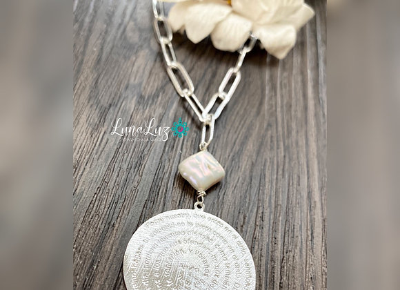 Collar corto 45 cms Enchapado en Plata 950 con perla y Padre Nuestro