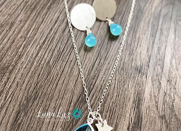 Conjunto Collar Cristal (45cms) y Aros en calcedonias