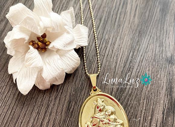 Cadena 45cms con medalla Virgen del Carmen Enchape de Oro 18k