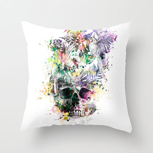 Skull - Parrots 2 THROW PILLOWS