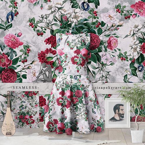 Botanical Flowers Red Seamless Pattern