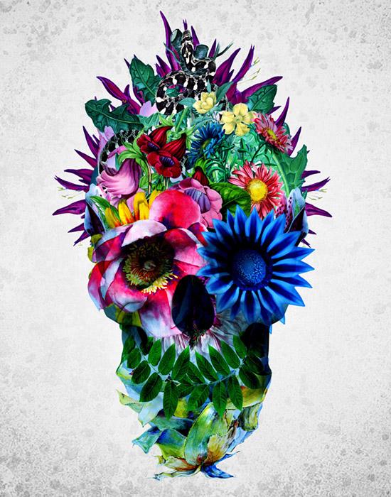 Floral Skull Blue