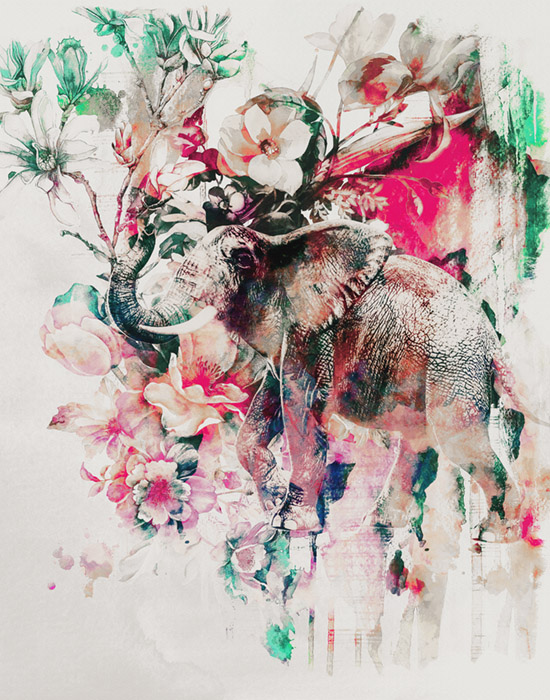 Watercolor Elephant and Flowers