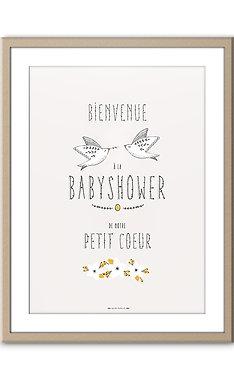 """Affiche de Bienvenue - Babyshower """"Papa et Maman Oiseau"""""""