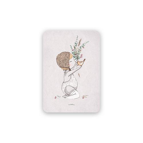 Faire-part Baptème - Bébé et l'oiseau PASTEL