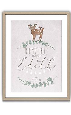 """Affiche de Bienvenue - Anniversaire """"Bichette bohème"""""""