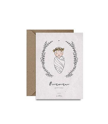 """Carte de Naissance - """"Bienvenue petit coeur"""""""
