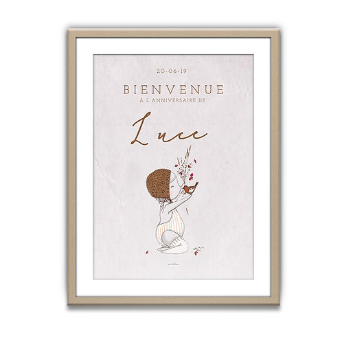 """Affiche de Bienvenue - Anniversaire """"Bébé et l'oiseau"""""""