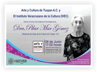 Homenaje a Pilar Mar Gómez  (directora de Casa de Cultura de Tuxpan). 6 de junio del 2019.