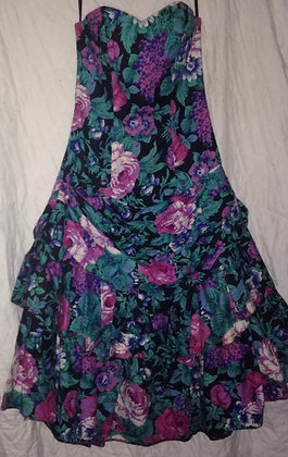1980's floral strapless prom dress